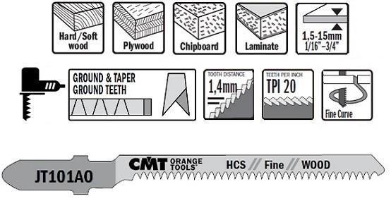5 Hojas sierra caladora JT101AO