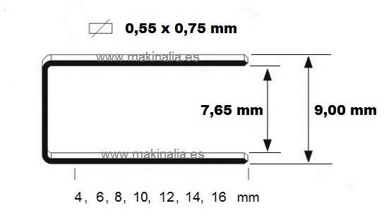 Grapas 3G 71x16mm 5.000 unid.